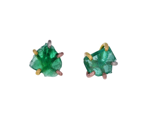 Large Zambian Emerald Stud Earrings