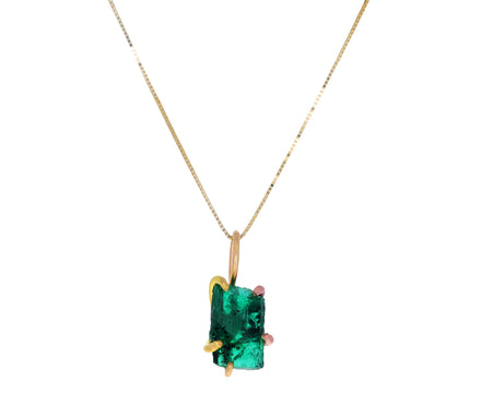 Rectangular Zambian Emerald Pendant Necklace