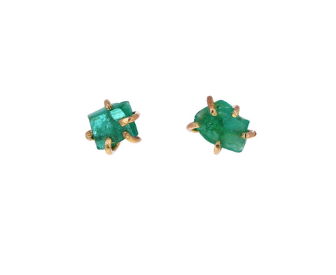 Extra Small Zambian Emerald Stud Earrings