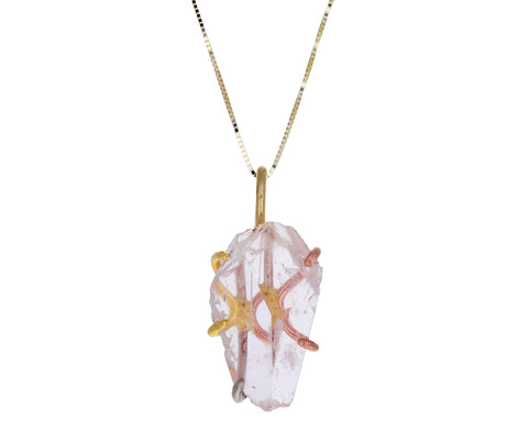 Large Morganite Pendant Necklace