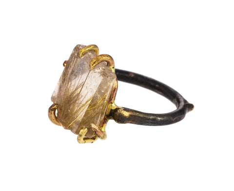 Rutilated Quartz Large Claw Ring - TWISTonline