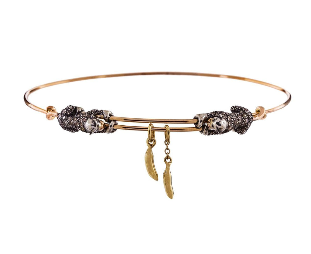 Monkey and Banana Bangle Bracelet zoom 1_bibi_van_der_velden_gold_diamond_monkey_banana_b