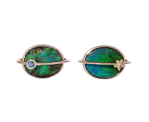 Opal and Sapphire Small Planet Earrings - TWISTonline