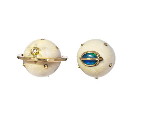 Fossil Diamond Opal Galaxy Earrings - TWISTonline