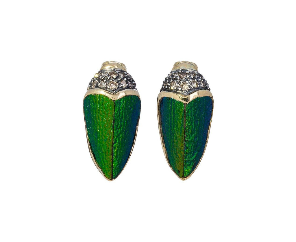 Small Scarab Earrings with Brown Diamonds - TWISTonline