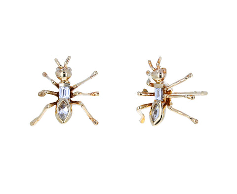 Gold and Diamond Ant Stud Earrings - TWISTonline