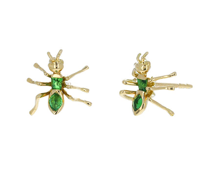 Gold and Tsavorite Garnet Ant Stud Earrings - TWISTonline