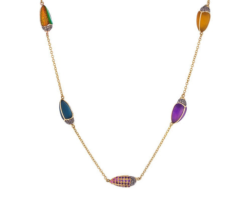 Five Scarab Chain Necklace - TWISTonline
