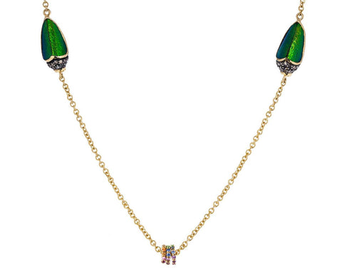 Scarab Necklace with Sapphire Discs - TWISTonline