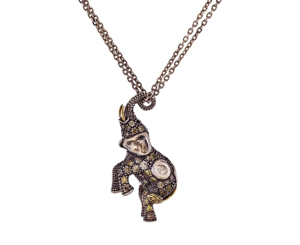 Diamond and Sapphire Elephant Pendant Necklace - TWISTonline