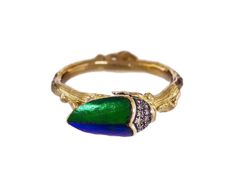 Stackable Scarab Wing Ring with Diamonds - TWISTonline