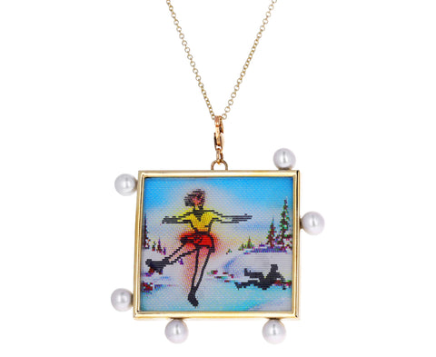 Pearl and Ice Skater Vari Vue Pendant Necklace