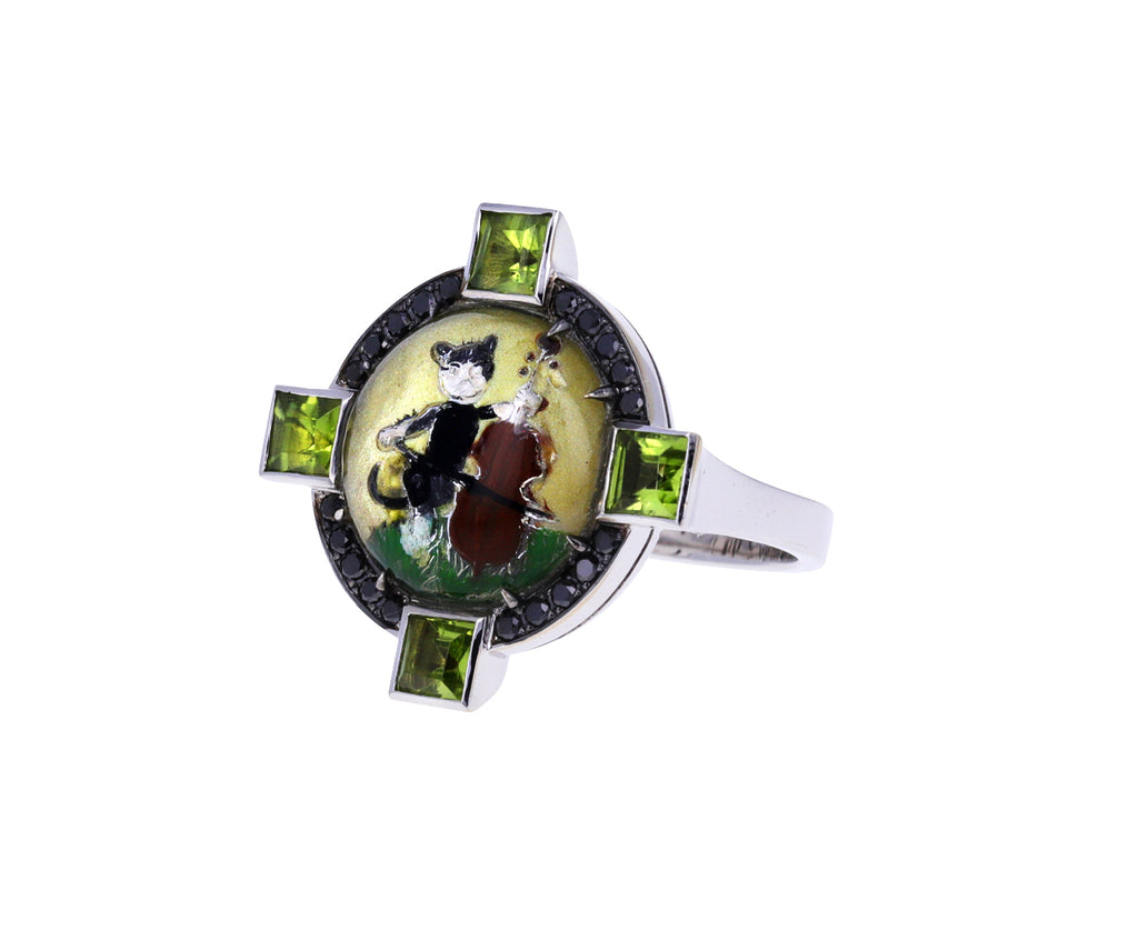 Diamond, Peridot and Vintage Cat Crystal Ring