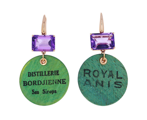 Easy Living Royal Anis Amethyst Wood Chip Earrings