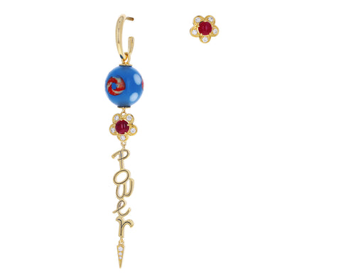 Venetian Glass Bead Flower Power Earrings