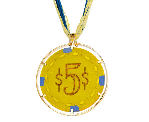 Vintage Yellow Chip Pendant Necklace