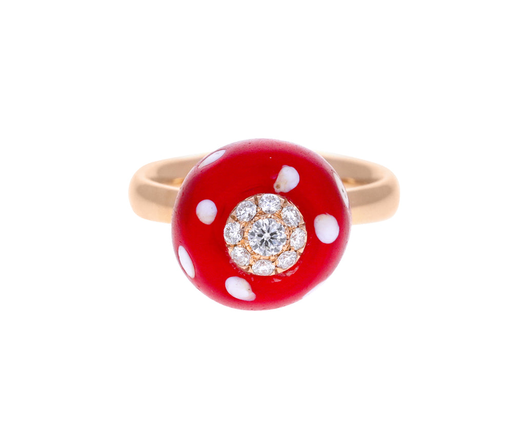 Vintage Red Glass Bead and Diamond Ring