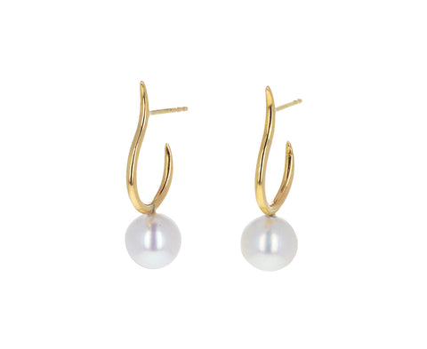 Pearl Moon Open Hoop Earrings