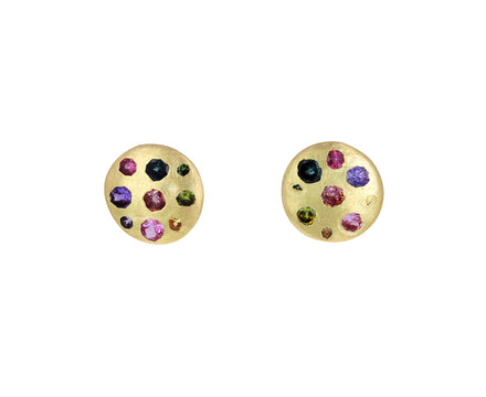 Rainbow Sapphire Celeste Disc Stud Earrings