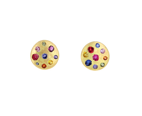 Medium Rainbow Sapphire Celeste Crystal Stud Earrings