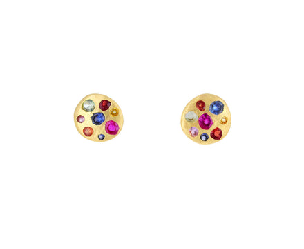Small Rainbow Sapphire Celeste Disc Stud Earrings