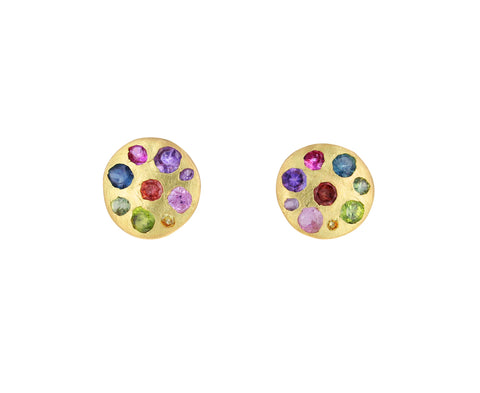 Medium Blossom Rainbow Sapphire Celeste Crystal Earrings