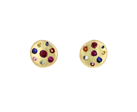 Rainbow Sapphire Celeste Crystal Disc Stud Earrings