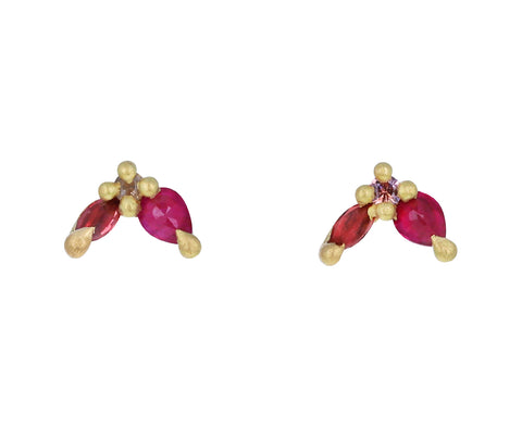 China Rose Floret Stud Earrings