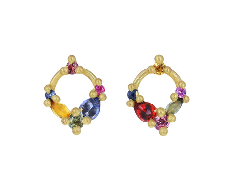 Rainbow Des Gouettes de Roses Circle Stud Earrings