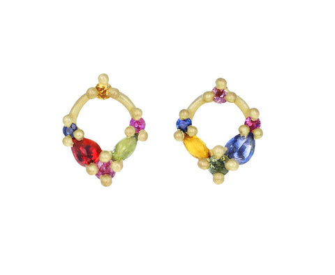 Rainbow Sapphire Des Gouttes des Roses Circle Stud Earrings