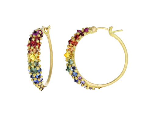 Rainbow Sapphire Galaxy Hoop Earrings