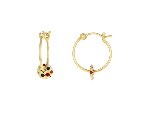 Rainbow Sapphire Mini Spinner Hoop Earrings