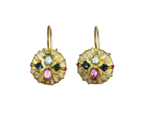 Mixed Stone Ourika Pinched Dome Earrings zoom 1_polly_wales_gold_sapphire_diamond_ourika_pinched