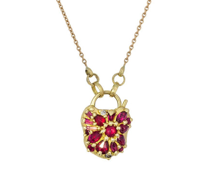 Small Ruby Padlock Pendant Necklace - TWISTonline