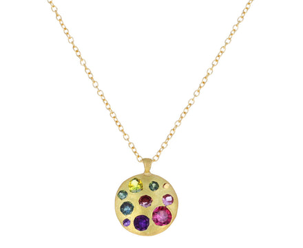 Large Blossom Crush Celeste Disc Necklace