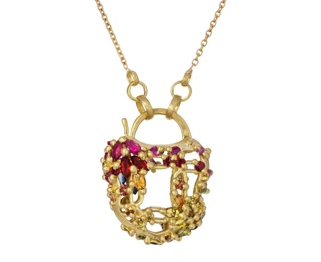 Camille Rainbow Sapphire Lattice Padlock Necklace - TWISTonline