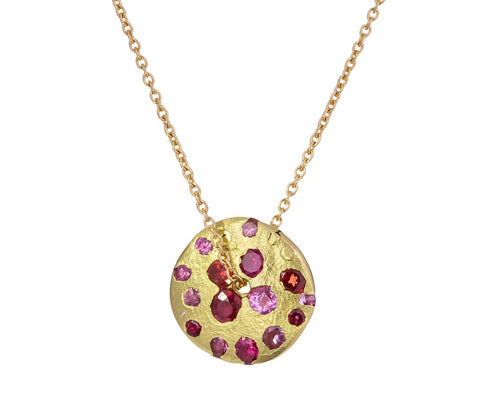 Celeste Spinning Disc Pendant Necklace zoom 1_polly_wales_gold_pink_spinning_disc_necklace