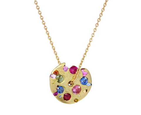 Rainbow Sapphire Celeste Spinning Disc Necklace zoom 1_polly_wales_gold_multi_gem_celest_disc_necklace
