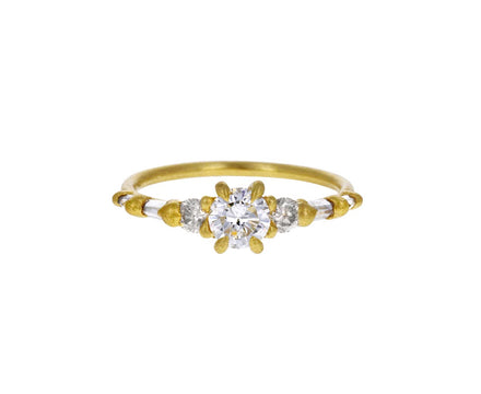Audrey Triple Round Diamond Solitaire Ring