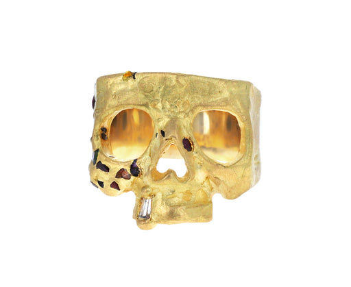 Confetti Skull Ring with Burst of Rainbow Sapphires