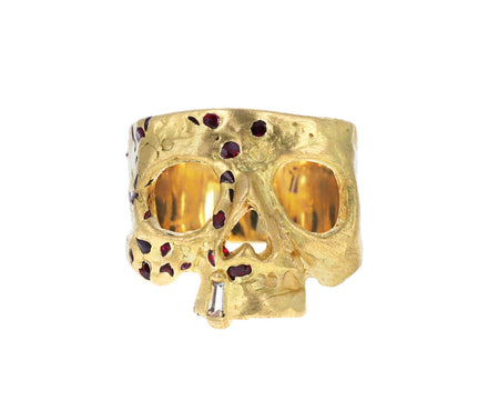 Confetti Skull Ring with Burst of Rubies