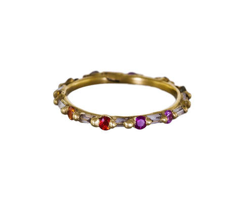 Rainbow Sapphire and Diamond Baguette Halo Eternity Band zoom 1_polly_wales_ring