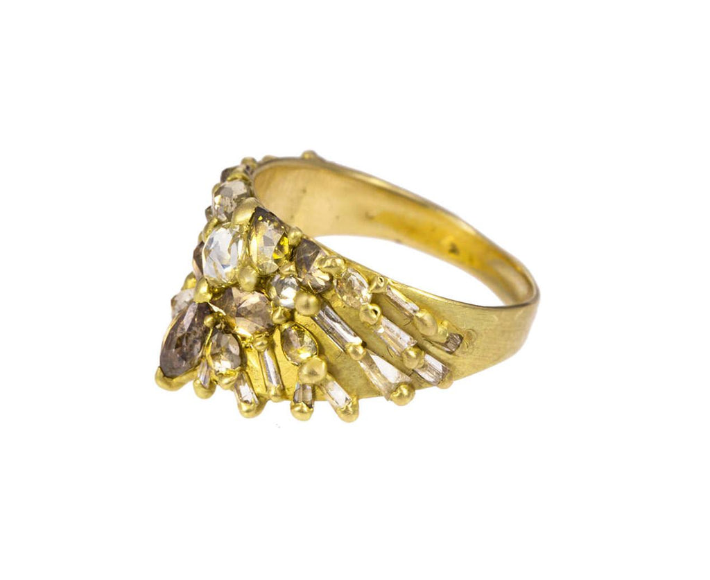 Champagne and Cognac Diamond Half Shield Ring - TWISTonline