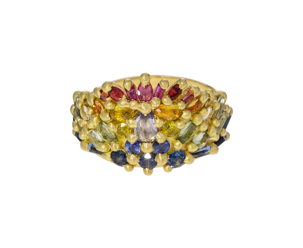 Rainbow Sapphire Helida Half Shield Ring - TWISTonline