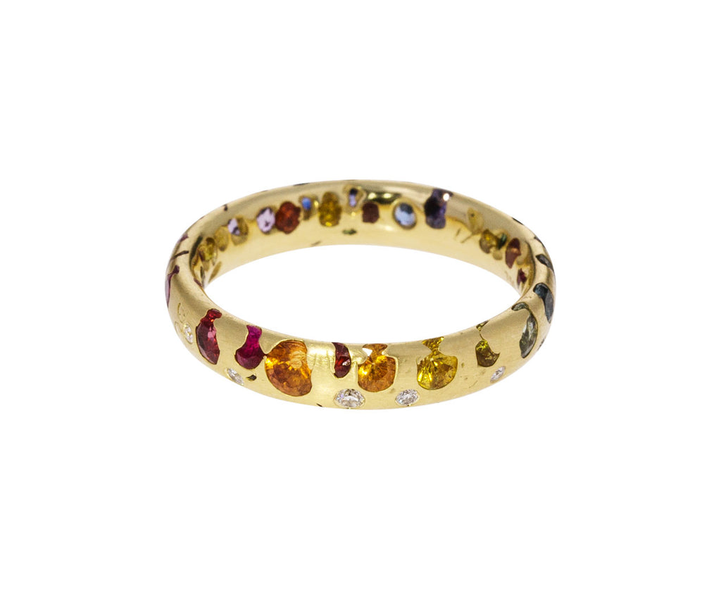 Rainbow Sapphire and Diamond Confetti Ring