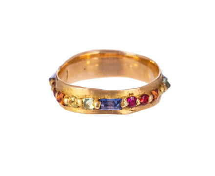 Wide Pinched Rainbow Sapphire Eternity Ring - TWISTonline