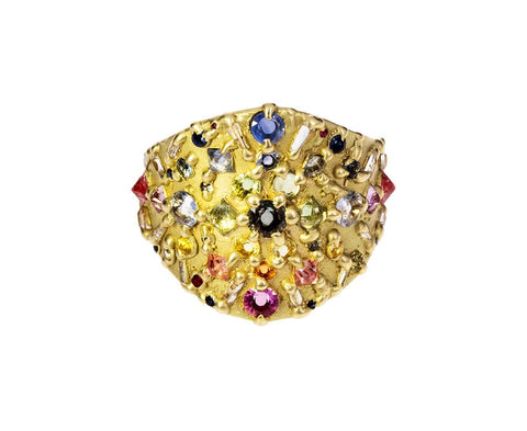 Multi-Sapphire and Diamond Ourika Shield Ring - TWISTonline