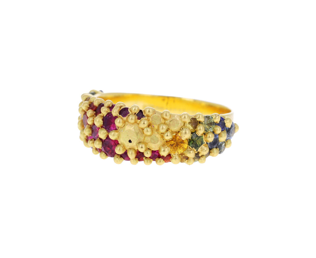 Rainbow Sapphire Tapered River Ring