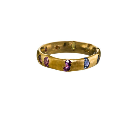 Yellow Gold Rainbow Sapphire Crystal Ring zoom 1