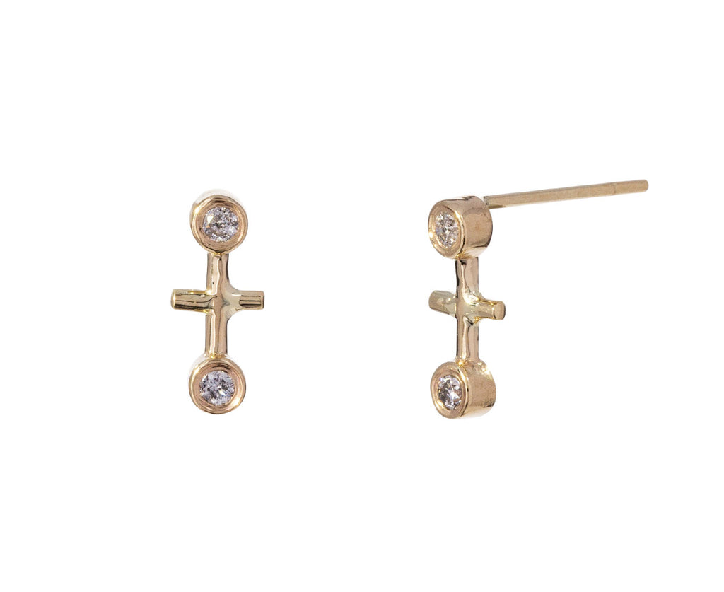 Diamond Dot Dot Bar Earrings